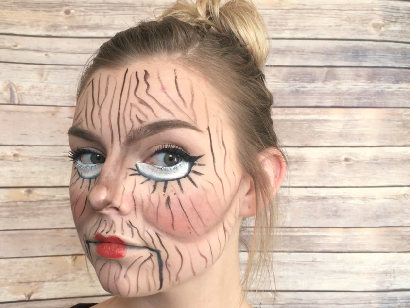 Wooden Doll Halloween Tutorial | blondeandambitiousblog.com