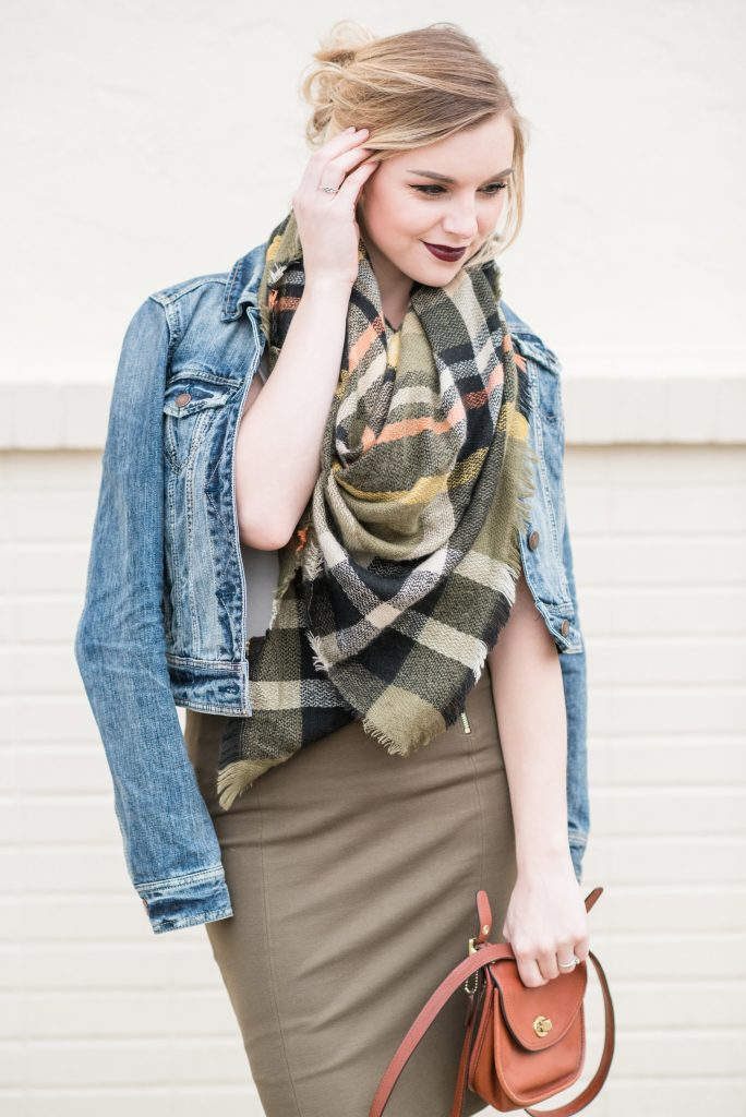 PENCIL SKIRTS AND BLANKET SCARVES