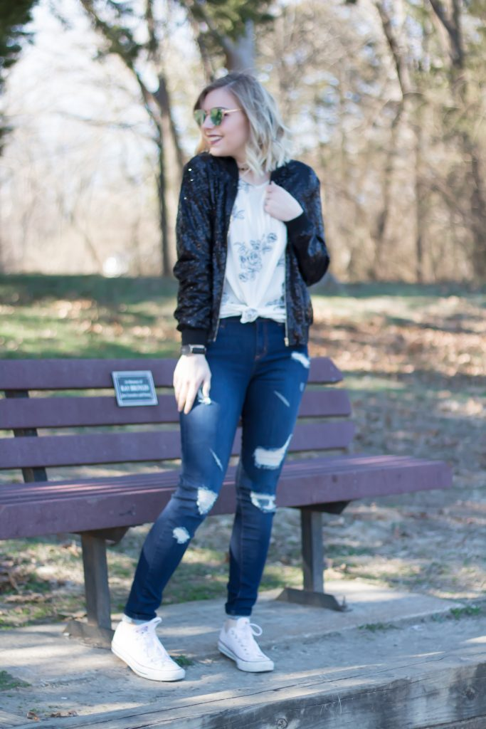 Ripped Jeans + Sequin Bomber Jacket