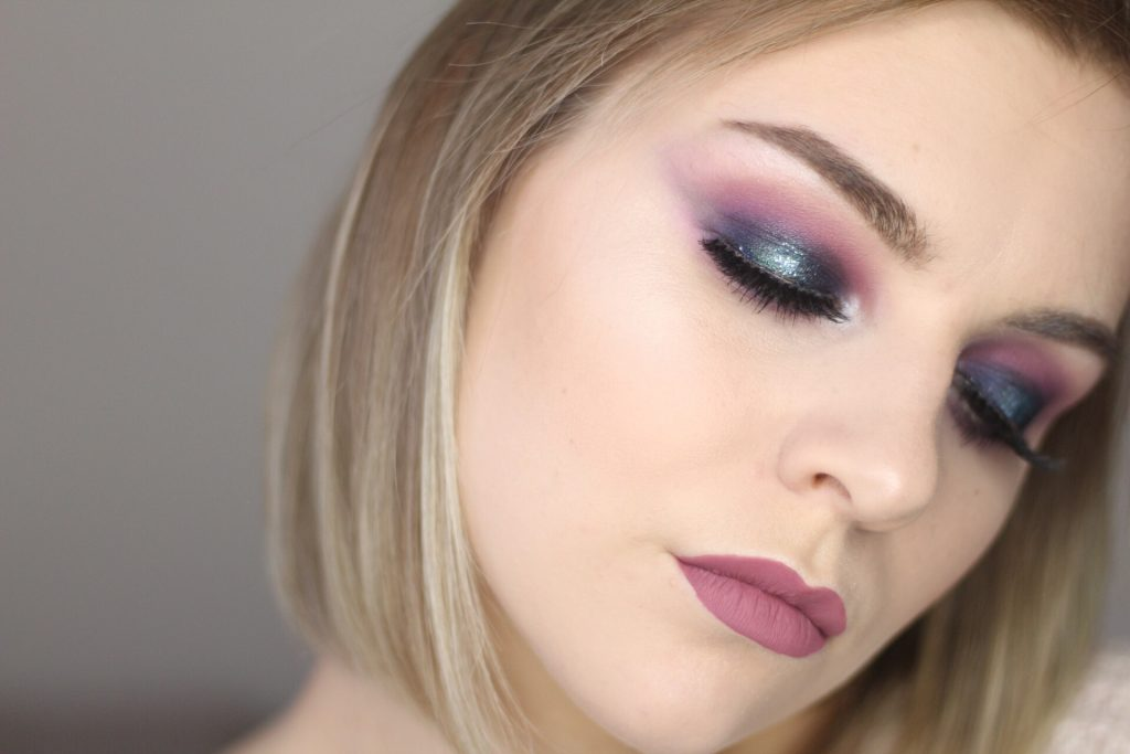 Blue + Purple Glitter Halo Eye Tutorial