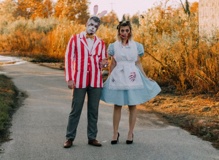 Alice & White Rabbit In Zombieland Couple Costume