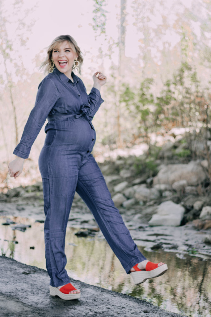 How To Style A Denim Maternity Jumpsuit
