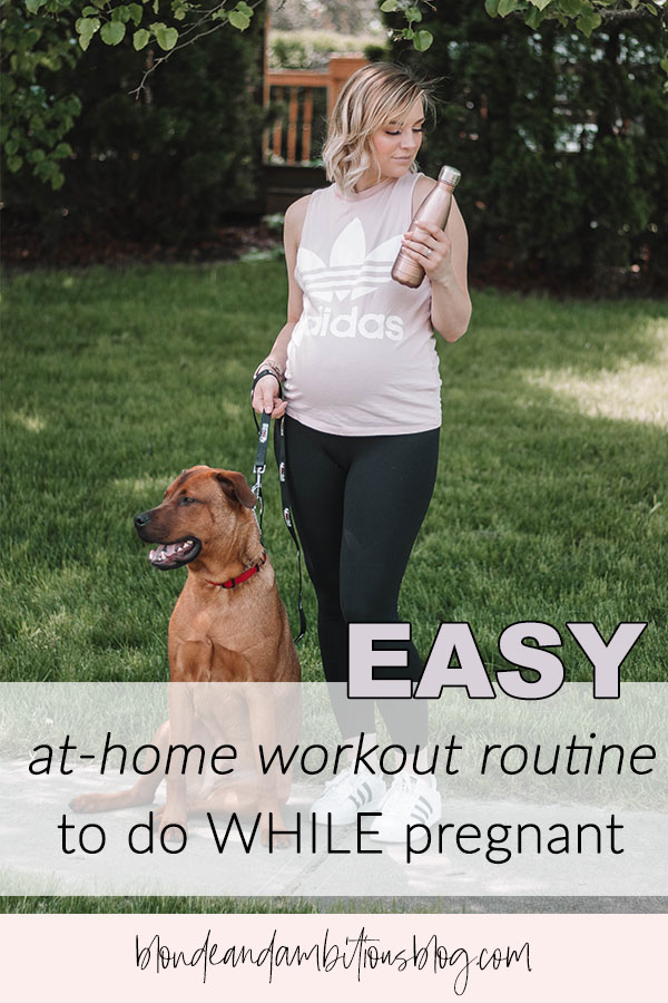 "Pinterest image containing the words ""easy at home workout routine to do while pregnant"""
