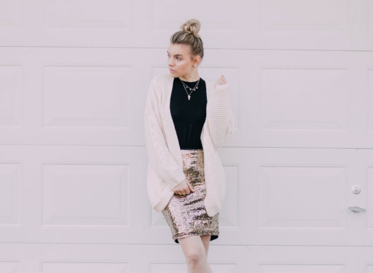 3 Ways To Wear a GLAM Sequin Skirt for the Holidays!